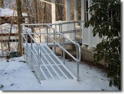 aluminum ramp in snow